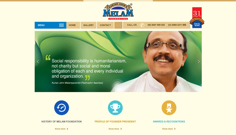 Melam Charities website